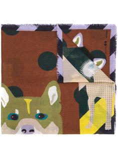 шарф с принтом волка Odeeh