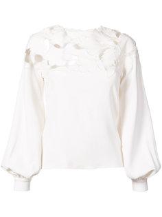 блузка с вышивкой Oscar de la Renta