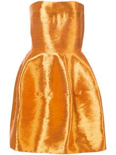 платье мини без бретелек Oscar de la Renta