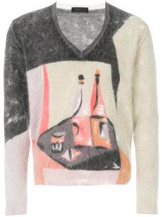 свитер с абстрактным принтом Prada
