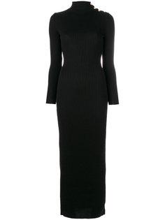 длинное платье с отворотной горловиной Balmain