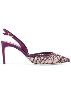 туфли без задника с отделкой стразами René Caovilla