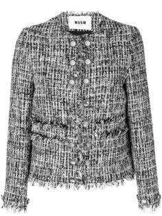 приталенный пиджак с бахромой по краям MSGM