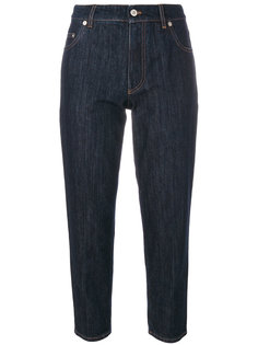 укороченные джинсы с заплатками  Miu Miu