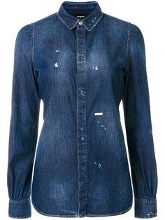 джинсовая состаренная рубашка  Dsquared2