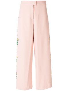 укороченные брюки с цветочной вышивкой Vivetta
