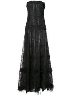 кружевное вечернее платье без бретелек Oscar de la Renta