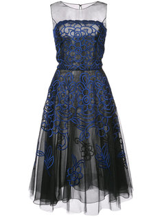 расклешенное платье миди с вышивкой Oscar de la Renta