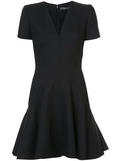 расклешенное платье мини с V-образным вырезом Alexander McQueen