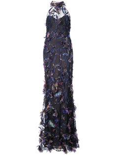 halterneck feathered gown  Marchesa Notte