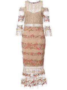 платье миди с кружевом и вышивкой Marchesa Notte