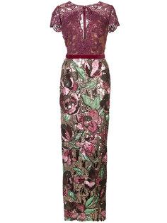 декорированное длинное платье  Marchesa Notte