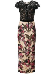 платье с кружевом и пайетками Marchesa Notte
