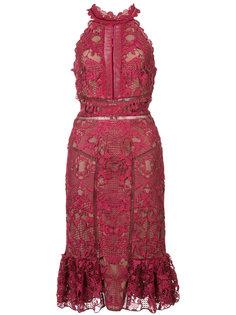 приталенное кружевное платье Marchesa Notte