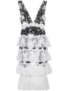 коктейльное платье с кружевными вставками Marchesa Notte