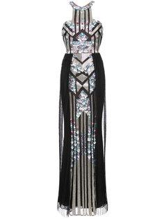 вечернее платье с пайетками и вырезом-петлей халтер Marchesa Notte