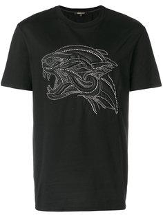 футболка с тигром и украшением из заклепок Roberto Cavalli