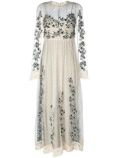 прозрачное платье с цветочным узором Red Valentino