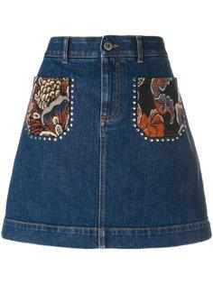 мини юбка с вышивкой на карманах Stella McCartney