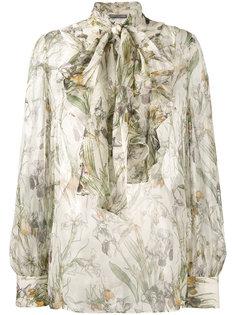 блузка с бантом и цветочным принтом  Alexander McQueen