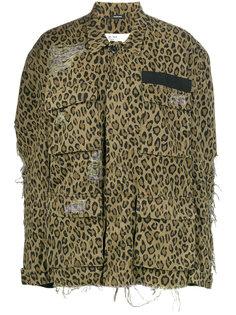 джинсовая куртка с леопардовым принтом  R13