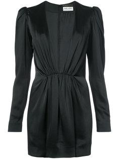 платье мини с глубоким V-образным вырезом Saint Laurent