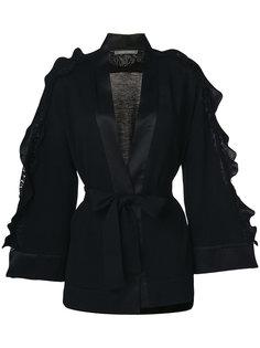 пальто с оборками и поясом  Alberta Ferretti
