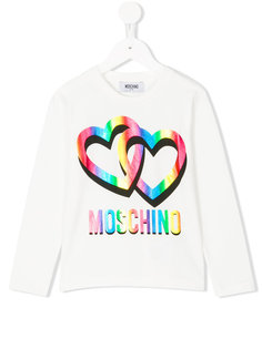 футболка с логотипом и сердцами Moschino Kids