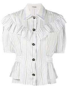 рубашка в полоску с оборками  Miu Miu