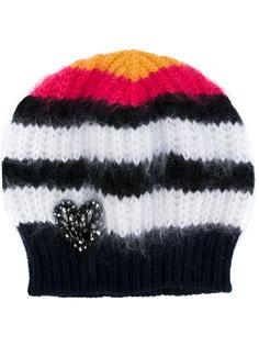 вязаная шапка-бини с сердцем из поделочных камней Nº21