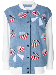 бейсбольная куртка с меховыми нашивками Fendi