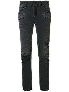 байкерские джинсы с эффектом потертости Pierre Balmain