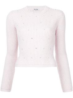 свитер со стразами и жемчугом  Miu Miu