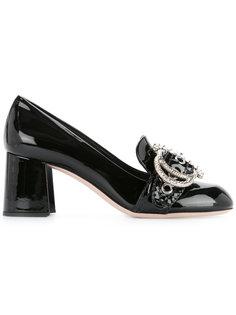 туфли-лодочки с украшением из горного хрусталя Miu Miu
