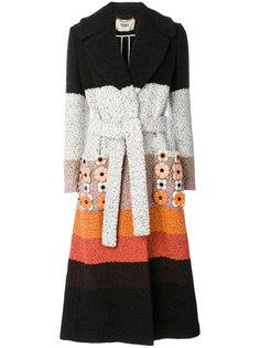 пальто в полоску с аппликациями  Fendi