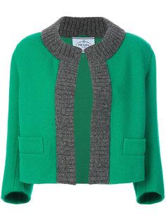 трикотажный пиджак с контрастной оторочкой Prada