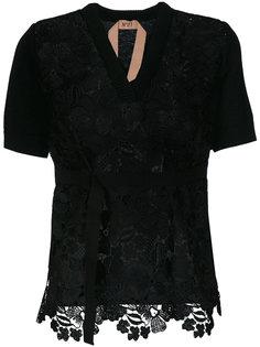 блузка с вышивкой и V-образным вырезом Nº21