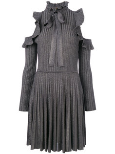 платье в рубчик с открытыми плечами  Elie Saab