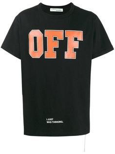 черная футболка с оранжевой надписью Off Off-White