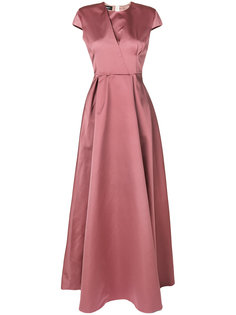 атласное платье с короткими рукавами  Rochas