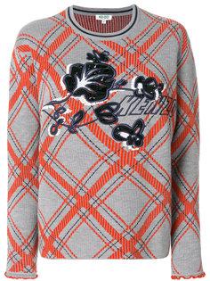свитер с узором в клетку и логотипом Kenzo