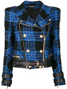 твидовая байкерская куртка  Balmain