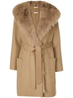 пальто с меховой отделкой P.A.R.O.S.H.