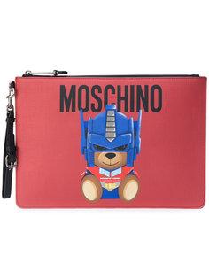 большой клатч с принтом в виде медведя Moschino