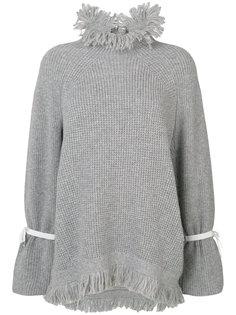 свитер с бахромой на воротнике Sacai