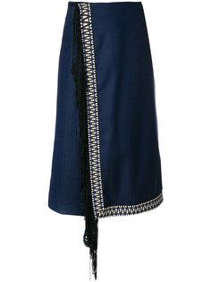 укороченные брюки с запахом и бахромой  Miahatami