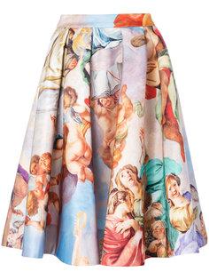 юбка с принтом в стиле ренессанса Moschino