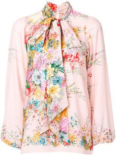 блузка с цветочным рисунком и завязками на шее Nº21
