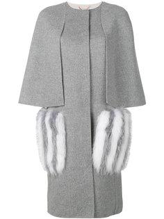 пальто с меховыми карманами Fendi