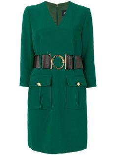 платье с V-образным вырезом и поясом Cavalli Class